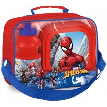 Pikniková sada Spiderman - box na desiatu a fľaša na pitie v taške