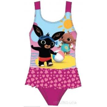Dievčenské jednodielne plavky Zajačik Bing - tm. ružové