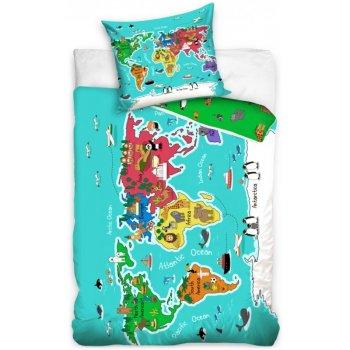 Bavlnené posteľné obliečky Atlas zvierat celého sveta