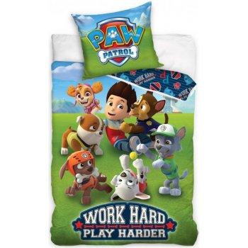 Bavlnené posteľné obliečky Paw Patrol - Work Hard - Play Harder