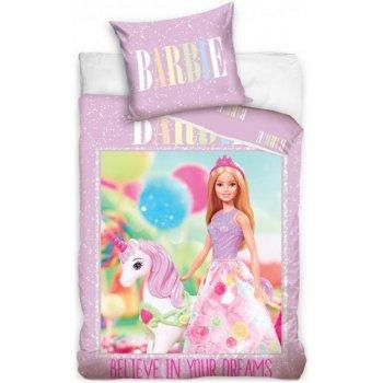 Bavlnené posteľné obliečky Barbie a jednorožec