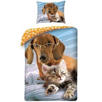 Bavlnené posteľné obliečky Pes a mačka
