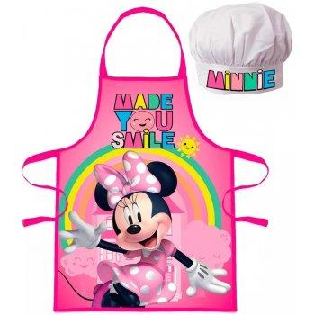 Detská zástera s kuchárskou čiapkou Minnie Mouse - Disney - s dúhou