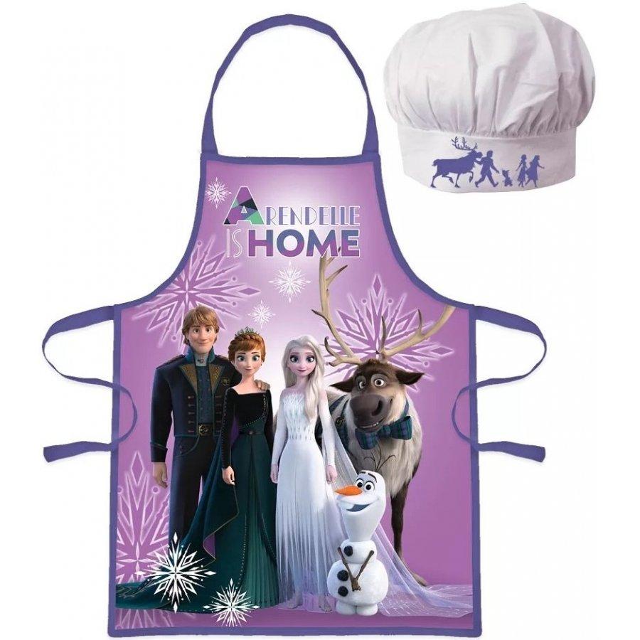Detská zástera s kuchárskou čiapkou Ľadové kráľovstvo - fialová