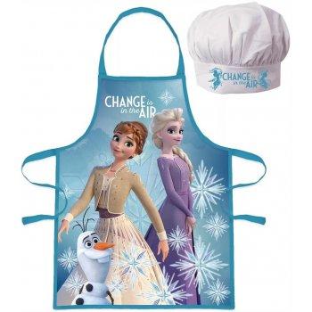 Dievčenská zástera s kuchárskou čiapkou Ľadové kráľovstvo 2 - Anna a Elsa s Olafom