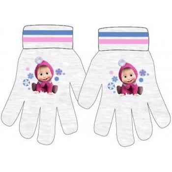 Dievčenské pletené prstové rukavice Máša a medveď