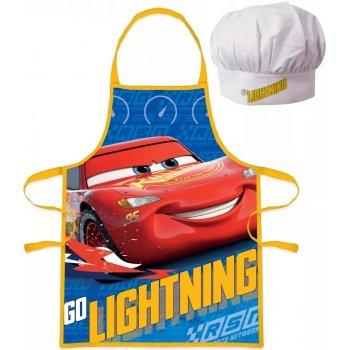 Detská zástera s kuchárskou čiapkou Autá - Blesk McQueen
