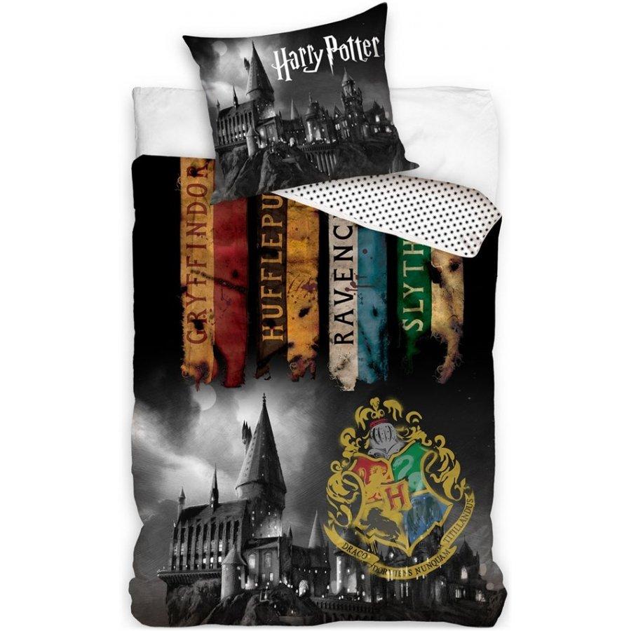 Carbotex · Bavlnené posteľné obliečky Harry Potter - motív Noc v Rokforte - 100% bavlna - 70 x 90 cm + 140 x 200 cm