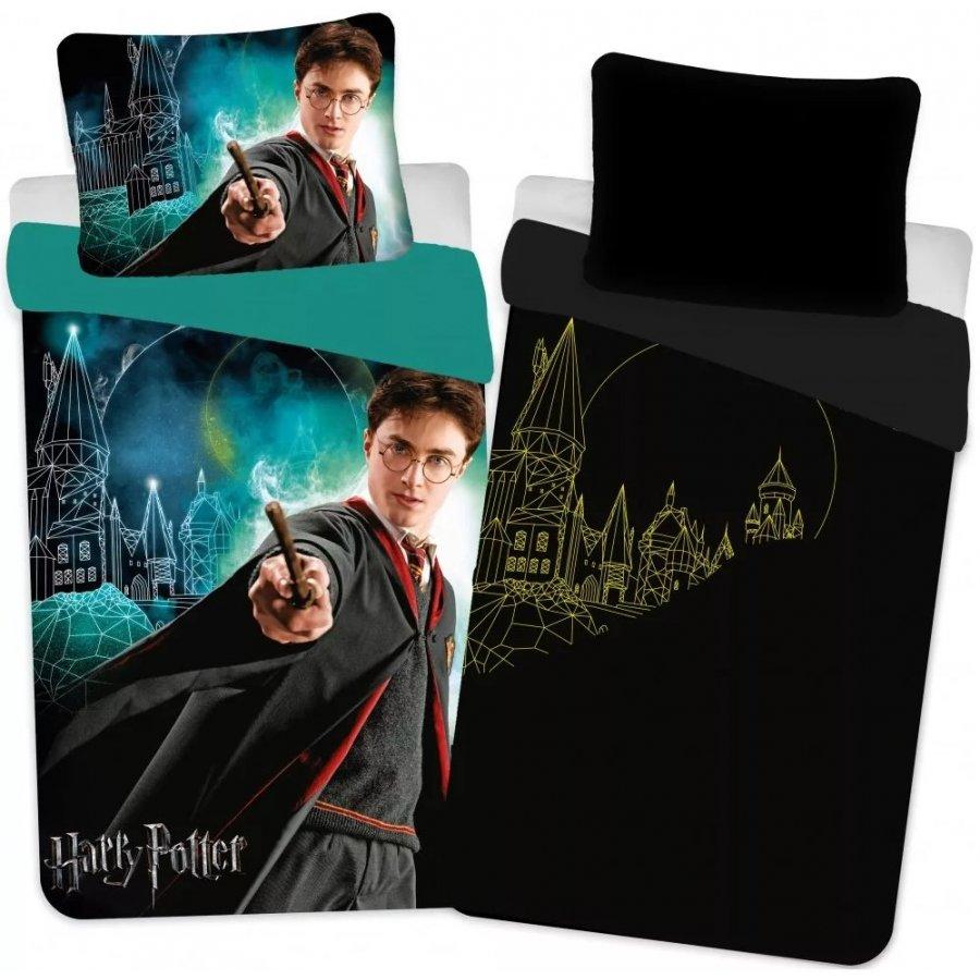 Setino · Bavlnené posteľné obliečky Harry Potter - so svietiacim efektom - 100% bavlna - 70 x 90 cm + 140 x 200 cm