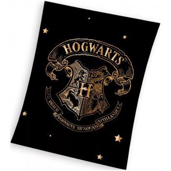 Veľká fleecová deka Harry Potter so zlatým erbom Rokfortu