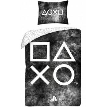 Bavlnené posteľné obliečky PlayStation - čierne