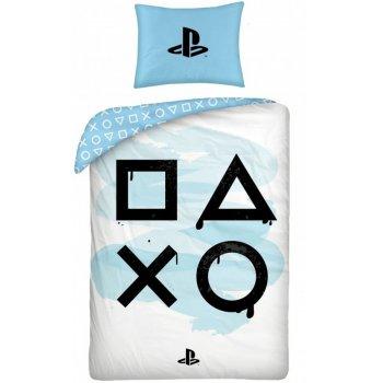 Bavlnené posteľné obliečky PlayStation - modré