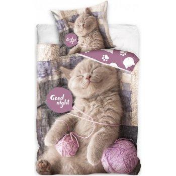Bavlnené posteľné obliečky Mačiatko s klbkami