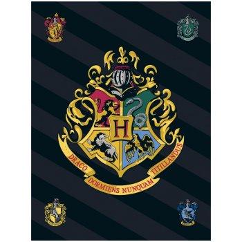 Malá fleecová deka Harry Potter s erbom školy čarodejníckej na Rokforte