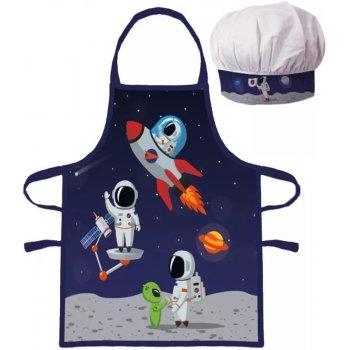 Detská zástera s kuchárskou čiapkou Kozmonauti
