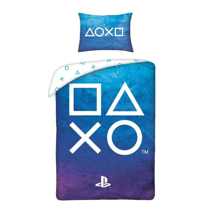Bavlnené posteľné obliečky PlayStation - tm. modré