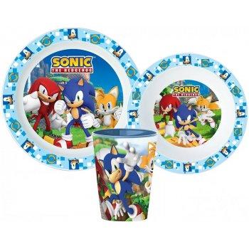 Sada plastového riadu Ježko Sonic s kelímkom