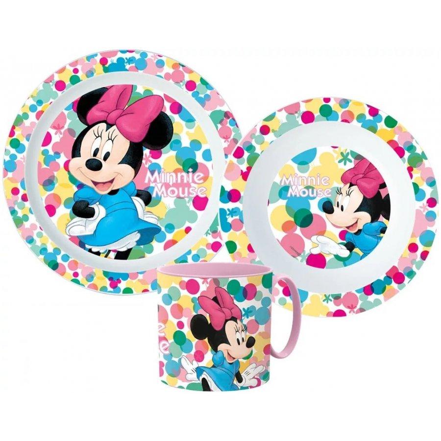 Sada plastového riadu Minnie Mouse s hrnčekom