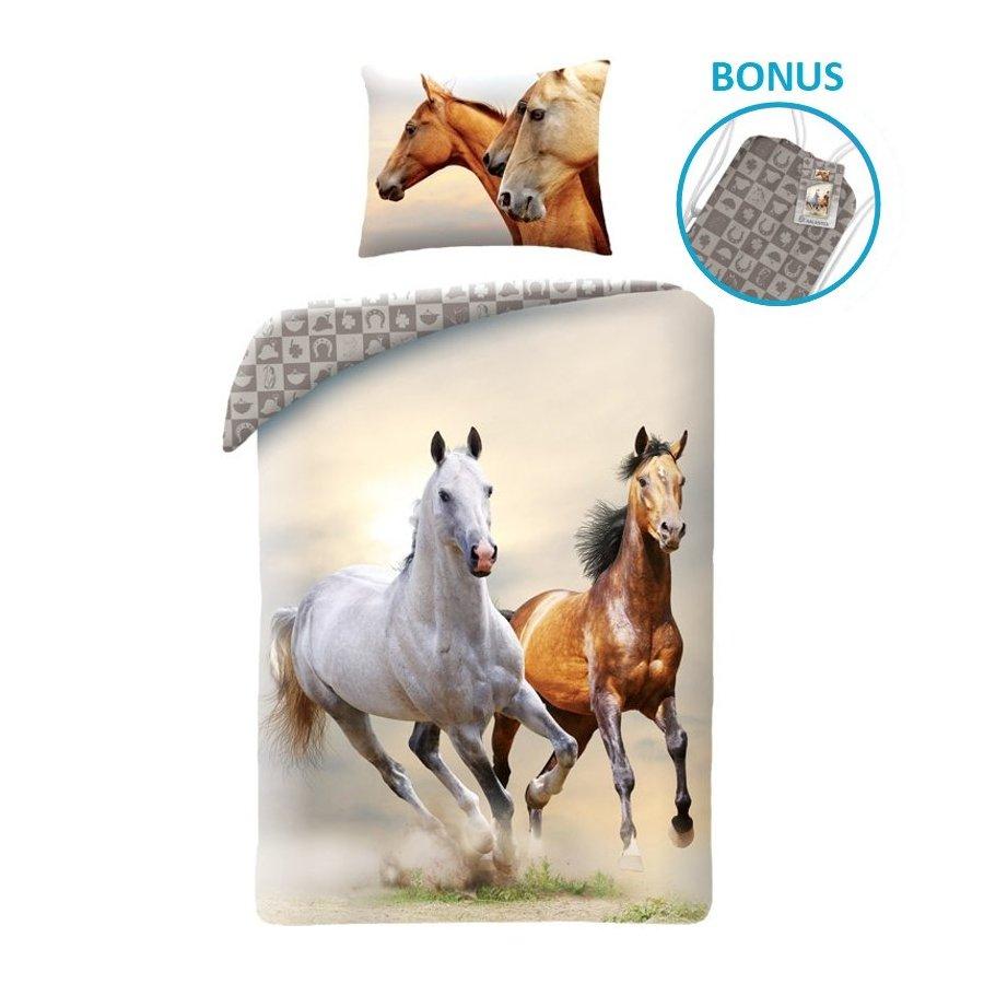 Bavlnené posteľné obliečky Kone - belák a hnedák
